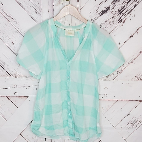 Anthro MaEve Mint Checkered Top M